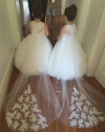 Wholesale Train Pictures For Kids - Elegant White   Ivory Flower Girls Dresses For Weddings Party Lace Appliques Tulle Ball Gown Kids Holy First Communion Dress With Long Train