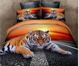 Wholesale Wholesale Cotton King Size Bedspreads - 7pcs 3D Tiger sunset bedding sets California king quilt duvet cover designer fitted bed in a bag sheets bedspread animal print queen size