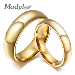 Wholesale Pure Gold Rings Men - Wholesale- Modyle Fashion 100% pure tungsten rings 4MM 6MM wide Gold-Color wedding rings for women and men jewelry