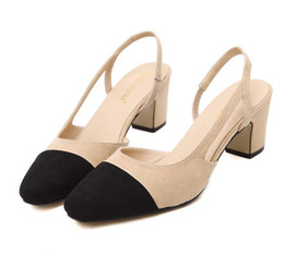 Wholesale Dress Sling - 2916 New Women Work Shoes Patchwork Black Beige Chunky Heel Sling Back Comfortable Shoes Size 34 To 39