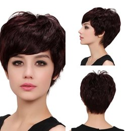 Wholesale Chestnut Human Hair Wigs - Beautiful 100% Human Hair Women Wigs Natural Wave Chestnut Brown Short Wigs Sexy European Ladies Hairs For Wedding Banquet MMJ38