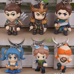 Wholesale Lol Keychains - LOL League of Legends KeyChains Lee Sin Ezreal Sona Jarvan Xin Zhao Garen Key Ring Holder Chain
