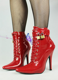 Wholesale High Heel Sexy Ankle Boots - New sex toys Unisex sexy BDSM sm CD game play 12cm heel fetish ankle lock high bondage boots shoes heeled