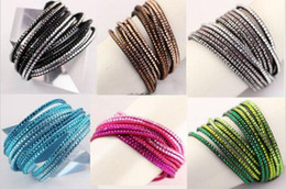 Wholesale Swarovski Crystal Wrap - 2015 New Like Swarovski Crystals 2 wrap Around PU Leather Adjustable Charm Bracelet 6 Color