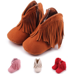 Wholesale Toddler Girls Fashion Boots - The New 2017 Baby Girls Boys Tassel Shoes First Walkers Infant Toddler Soft Soled Anti-slip Boots Booties.CX21