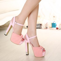 Wholesale Pink Rhinestone Sandals - Sweet Chiffon Knot Rhinestone Platform Ultra High Heels Sandals Women Ivory Wedding Shoes Ivory Pink Black Size 34 To 39