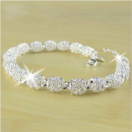 Wholesale silver crystal ball bracelet - Newest Women Bracelet Bangle Jewelry Top Quality 925 Sterling Silver Chain Bead Ball charm Bracelets & Bangles Free Shipping
