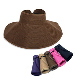 Wholesale Large Wide Visor - Wholesale-Summer Sun Visors Hat Colorful Fashion Outdoor Straw Caps Foldable Wide Large Brim Floppy Beach Hats