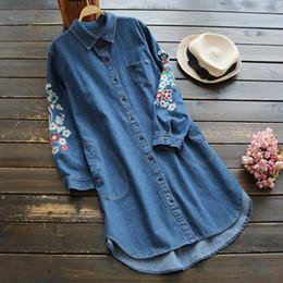 Wholesale Denim Shirts For Girls - Winter Shirts for women Denim Floral print Long sleeve Mori girl Women Blouses Blue color