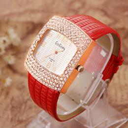 Wholesale Unique Watches For Ladies - GOGOEY New Fashion Rhinestone Women Watches Unique Popular Dial PU leather Strap Wristwatch Crystal Luxury Quartz Watch For Women Ladies