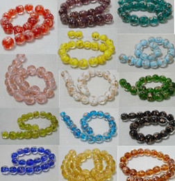 Wholesale Glass Heart Bulk - 12mm 14 colors choose DIY Round lampwork murano charms glass beads gold dust bulk beads glass vintage jewelry
