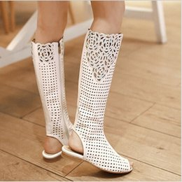 Wholesale Wedges Boots Open Toe - 2015 new summer boots pu leather open toe Comfortable flat women boots sweet Rhinestone cut-outs Design knee high boots