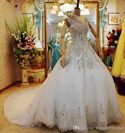 Wholesale Luxurious Ball Gown High Neck - 2015 Ball Gown Wedding Dress Sparking V-neck Marvelous Crystal High-end Luxurious Upscale High Taste Custom Made Cheap Long White Elegant