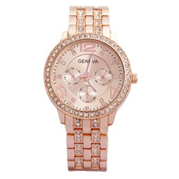 Montres de luxe en acier inoxydable à Genève en acier inoxydable avec montres en métal Montres en cristal de Genève 50 pcs DHL gratuit ? partir de fabricateur