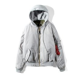 Wholesale Hoodies Men Double Sided - High-Quality Men Fashion Hoodies and Sweatshirts Simon Hip Hop Jacket Vetements MA-1 Bomber Giant Sleeve Double Sided Hooded Jacket Coat