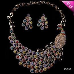 Wholesale Colorful Rhinestone Bridal Necklace Sets - Amazing Crystals Statement Colorful Phoenix Pattern Rhinestone Bridal Necklace Sets Choker Prom Party Wedding Accessories Free Shipping 2015
