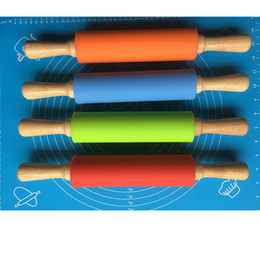 Wholesale Pastry Boards - 38CM Silicone Rolling Pin Solid Wood Handle Roller Non stick Food Flour Sticks DIY Baking Tools Pastry Boards Food Silicone Quality WX9-178