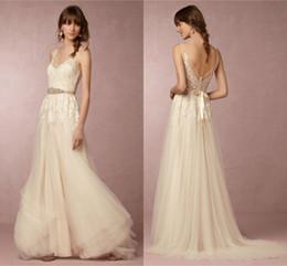Wholesale Elegant Dress Top - 2018 Lace Wedding Dresses Elegant V-Neck Sleeveless Appliques Lace Top A-Line Beach Wedding Dress With Sash Custom Made
