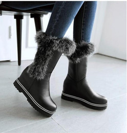 Wholesale Real Injection - New Arrival Real Fur Winter Shoes Woman Platform Height Increasing Snow Boots For Women Brand Fashionable Plus Size