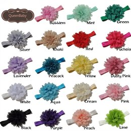 Wholesale Shabby Accessories - Big Chiffon Flower Headband Matching Shabby Flower Hair Accessory Nylon Newborn Photography Props 20pcs lot Queenbaby