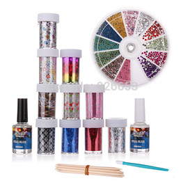 Wholesale Glitter Nail Wraps - 10 Roll Nail Art Design Wraps Transfer Foil Glitter Tips Decorations With Adhesive Top Coat Stick Set Free Shipping
