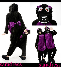 Wholesale Cheap Female Suits - Adults Flannel Pajamas All in One Pyjama Animal Suits Cosplay Adult Winter Garment Cartoon Animal Onesies Pajamas Black Dragon Stock Cheap