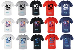 Wholesale Mens T Shirts Xxl - S M L XL XXL XXXL Mens summer KD printed t-shirts cotton short sleeve tshirt basketball clothing free shipping