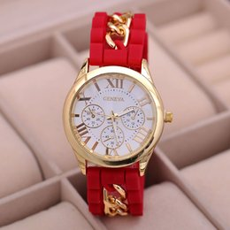 Wholesale geneva watches silicone band - 2015 new style Geneva Silicone Band Gold Alloy Chain Women casual Watch men Quartz Wristwatch ladies women Jelly watch
