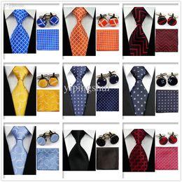 Wholesale Lattice Cufflinks - Wholesale-UN4 Men's Accessories Classic Lattice Wedding Party Ties Neckties Set Orange Blue Red Ties Match Cufflinks Handkerchief Set