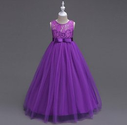 Wholesale Chinese Style Flower Girl Dresses - Big Girls Princess Dress Children Girl Deluxe Elegant Flower Lace Ball Gown Kids Party Wedding Dress Pageant Long Dress