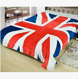 Wholesale queen fleece blankets - Cartoon Blanket British American Flag Coral Fleece Blankets Kids Gift Blankets for Home Bed Duvet Sheet 150x200cm Size