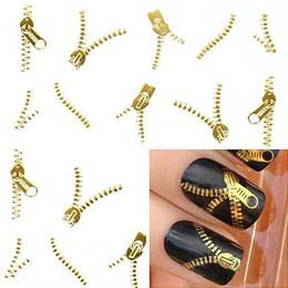 Wholesale Nail Art Zip - Wholesale-Nail Art Water Transfers Stickers Decals Metallic Gold Sliver Funky Zipper Zips