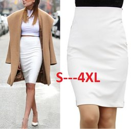 Wholesale Elegant Ladies Skirt - Hot Sale 2016 Summer New Fashion Lady Elegant Formal Midi Skirt Vintage Casual Slim Pencil Skirt White Black Plus Size Zc15618