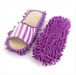 Wholesale Fleece Sewing - Wholesale- New coral fleece stripe washable slipper linen chenille lazy mopping slippers -4 color