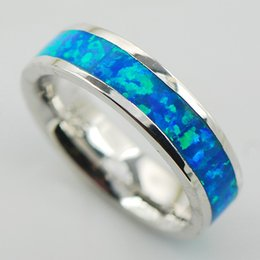 Wholesale Silver Blue Opal Ring - Blue Fire Opal Women 925 Sterling Silver Ring A25 Size 6 7 8 9 10