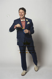 Wholesale Tuxedo For Beach Wedding - Wholesale-Navy Blue Custom Made Wedding Beach Suit For Men With Pants Mens Tuxedos Notch Lapel Two Buttons Jacket + Pants+Tie HZ075