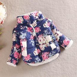 Wholesale Cotton Padded Jacket Baby - 2015 baby girl winter Flower Printing clothing coat jacket for girls 2-5 years old children warm padded coat 4 size to choose A080542