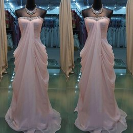 Wholesale Strapless Maternity Bridesmaid Dresses - Pink Strapless Evening Dresses Real Photos Celebrity Dress Picks-up Backless Chiffon Prom Dress For Women Pregnant Wedding Bridesmaid Dress