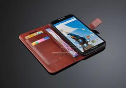 Nexus bolsas online-Nuevo 2015 Deluxe PU Funda de cuero para Motorola Google Nexus 6 Wallet Style Funda para bolsa Soporte de diseño con ranuras para tarjetas