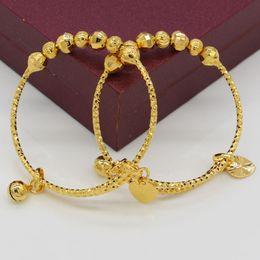 Wholesale Gold Bracelets For Kids - 7.5$ 2pcs Dubai Bangles For Baby Kids Gold Color Ethiopian Exquisite Bracelet Bangle Trendy African Arab Jewelry