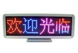 Wholesale Scrolling Color Led Sign - Tri-color Rechargeable 300mm Global-language Programmable LED Scrolling Message Display Moving Sign Board LED shop screen 16x64 Dots