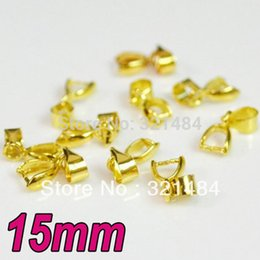 Wholesale Gold Plated Pinch Clip Bail - Gold Plated 200pcs 15mm Pendant Clasp Pinch Clip Bail Link Connector DIY Jewelry Findings Accessories