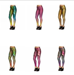 Wholesale Fish Fins - Mermaid Fish Scales Leggings Women Mermaid Slim Tights Jeggings Tail Fins Shiny Fitness Pencil Pants 6 Styles 20pcs OOA3390