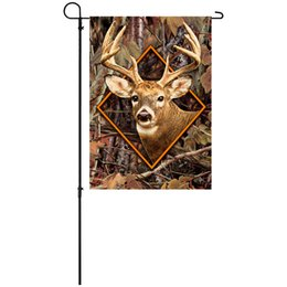 Wholesale Outdoor Deer Decoration - Wholesale Free Shipping 34x45cm 13x18inch Knitted Polyester Double-sided High Quality Outdoor Decoration Camouflage Deer Garden Flags