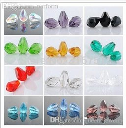 Wholesale Teardrop Glass Crystals - Wholesale-Wholesale 200pcs lot Crystal Glass Faceted Beads Teardrop For Jewelry Making 11x8mm (Pick 10 color) Free Shipping(W00417-w00425)