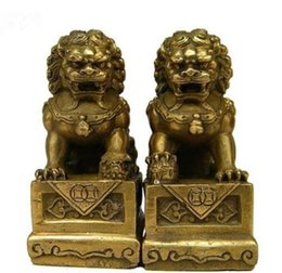 Wholesale Brass Dog Statue - Collectibles China Chinese Brass Folk Fengshui Foo Fu Dog Guardion Door Lion Statue 2pcs 1Pair