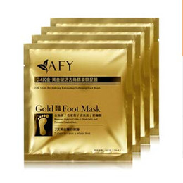 Wholesale Detox Foot Care - Factory price 24K Gold Revitalizing Exfoliating Softening Feet mask Removes Cuticles callus Dead cells foot care #71499