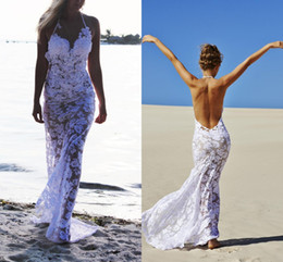 Wholesale Halter Open Backless Dress - Cool Sexy 2017 Sea Beach Full Lace Sheath Wedding Dresses halter Wedding gowns white appliques open back Mermaid See Through Bridal Gowns