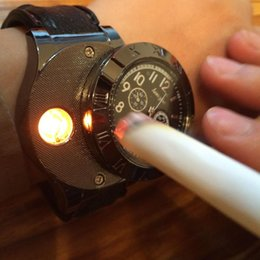 Wholesale Cigarette Lighters Wristwatches - New 2015 Military USB Charging sports Lighter Watch Men's Casual Quartz Wristwatches with Windproof Flameless Cigarette Cigar Lighter
