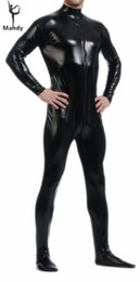 Wholesale womens costume xxl - Wholesale-Adult Black Latex Shiny Turtleneck Long Sleeve Metallic Men Catsuit Womens Skin-Tight Unitard Lycra Bodysuit Zentai Without Hood